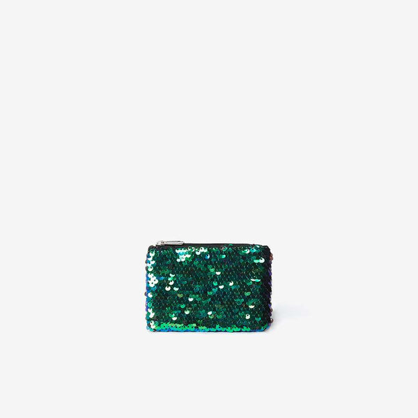 Womens Green Sequin Embellished Zip Top Purse- Blue