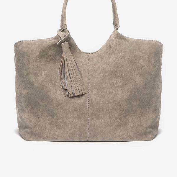 Womens Grey Suedette Unstructured Hobo Bag- Grey