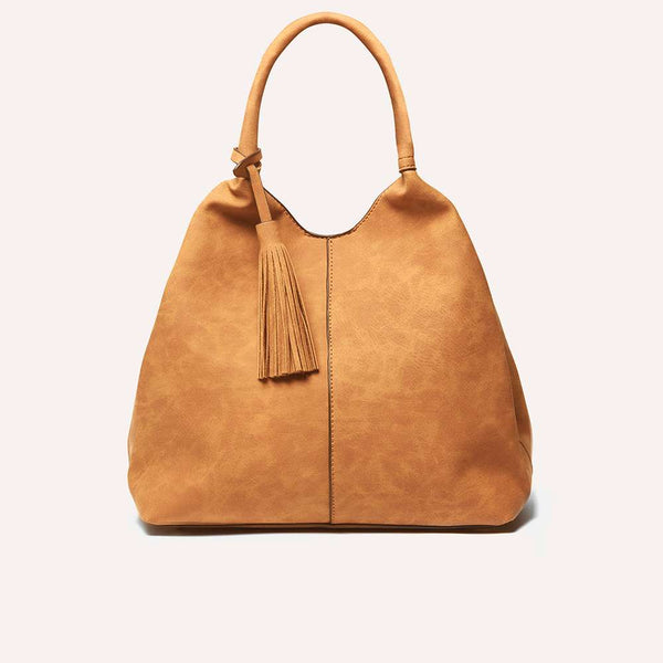 Womens Tan Unstructured Hobo Bag- Brown