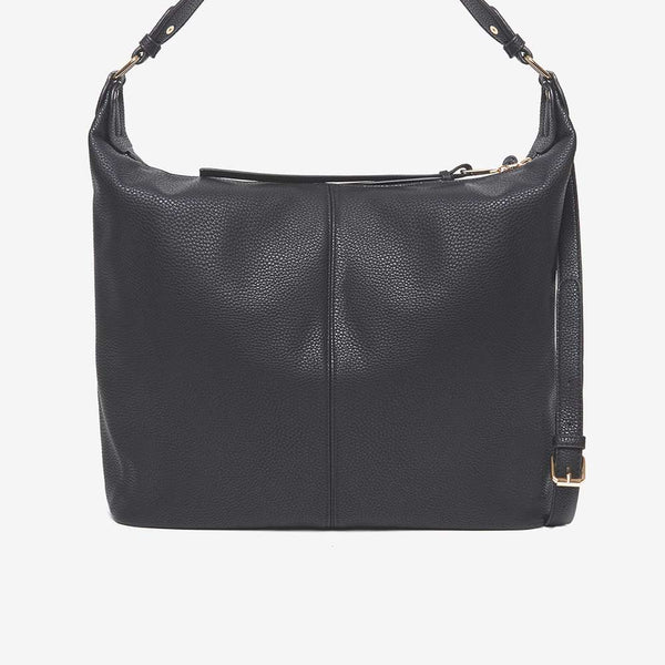 Womens Black Faux Leather Double Zip Hobo Bag- Black