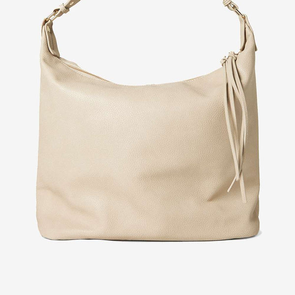 Womens Natural Double Zip Hobo Bag- White