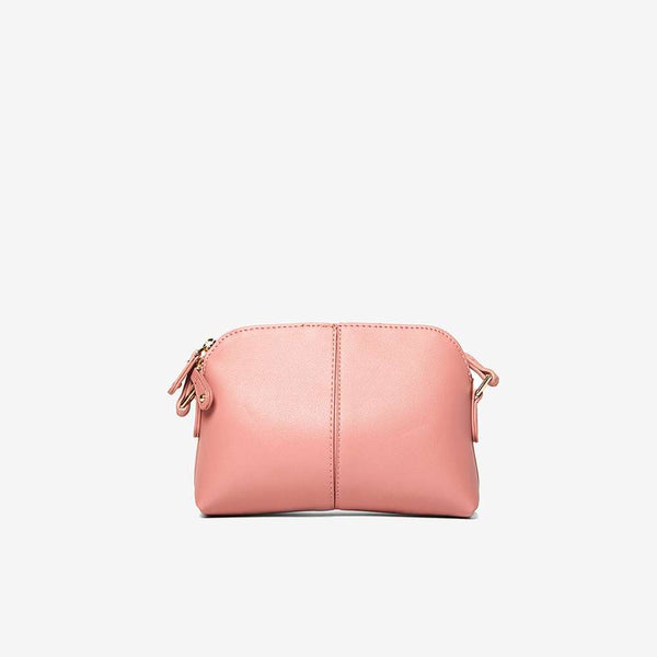 Womens Rose Double Zip Cross Body Bag- Pink
