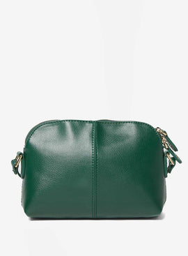 Womens Green Double Zip Cross Body Bag- Green