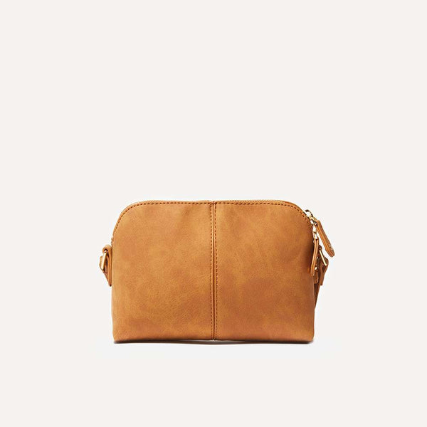 Womens Tan Pouch Cross Body Bag- Brown
