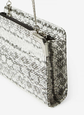 Womens Black Snake Print Metal Corner Boxy Clutch Bag- Black