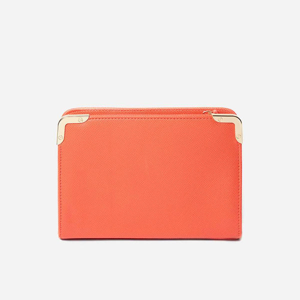 Womens Coral Metal Corner Boxy Clutch Bag- Coral