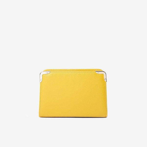 Womens Mustard Mini Box Clutch- Yellow