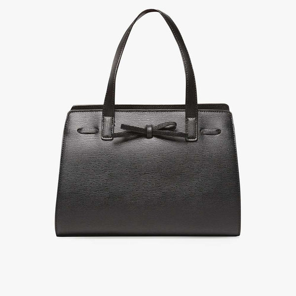 Womens Black Mini Bow Tote Bag- Black