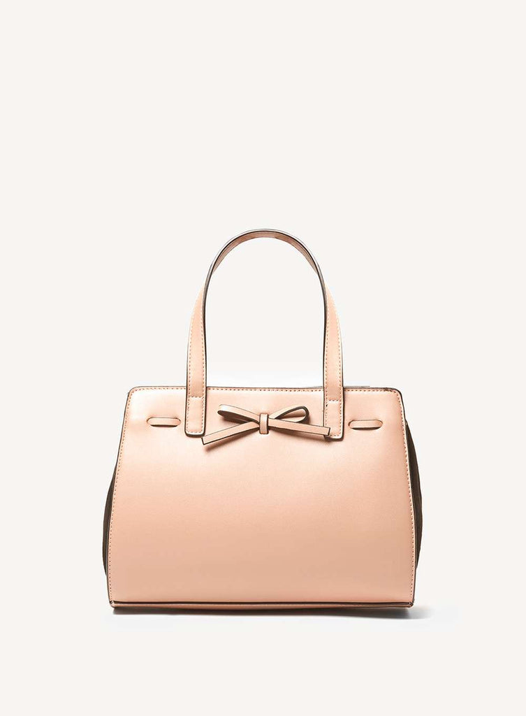 Womens Rose Pink Mini Bow Tote Bag- Pink