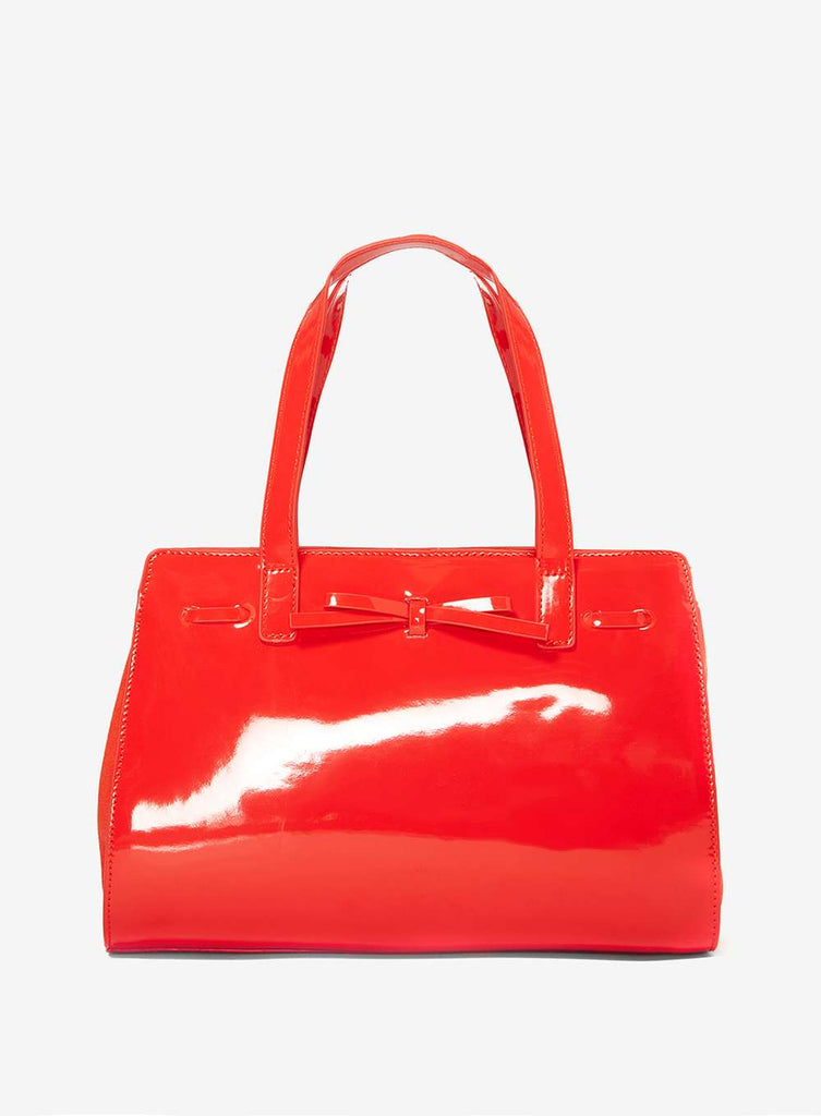 Womens Coral Mini Bow Tote Bag- Coral