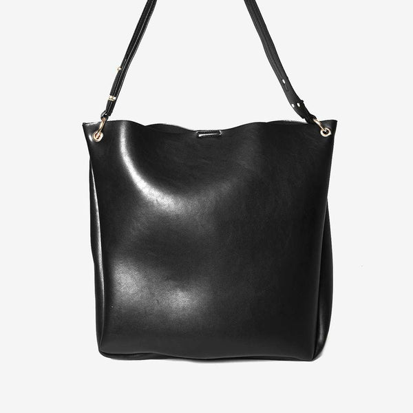 Womens Black Hardware Handle Hobo Bag- Black