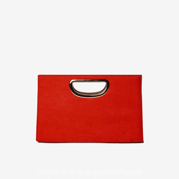 Womens Red Metal Handle Clutch Bag- Red