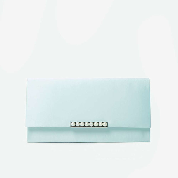 Womens Turquoise Pearl Bar Clutch Bag- Blue