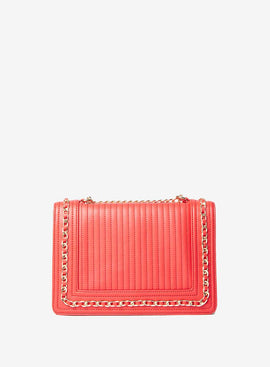 Womens Red Chain Shoulder Bag- Red