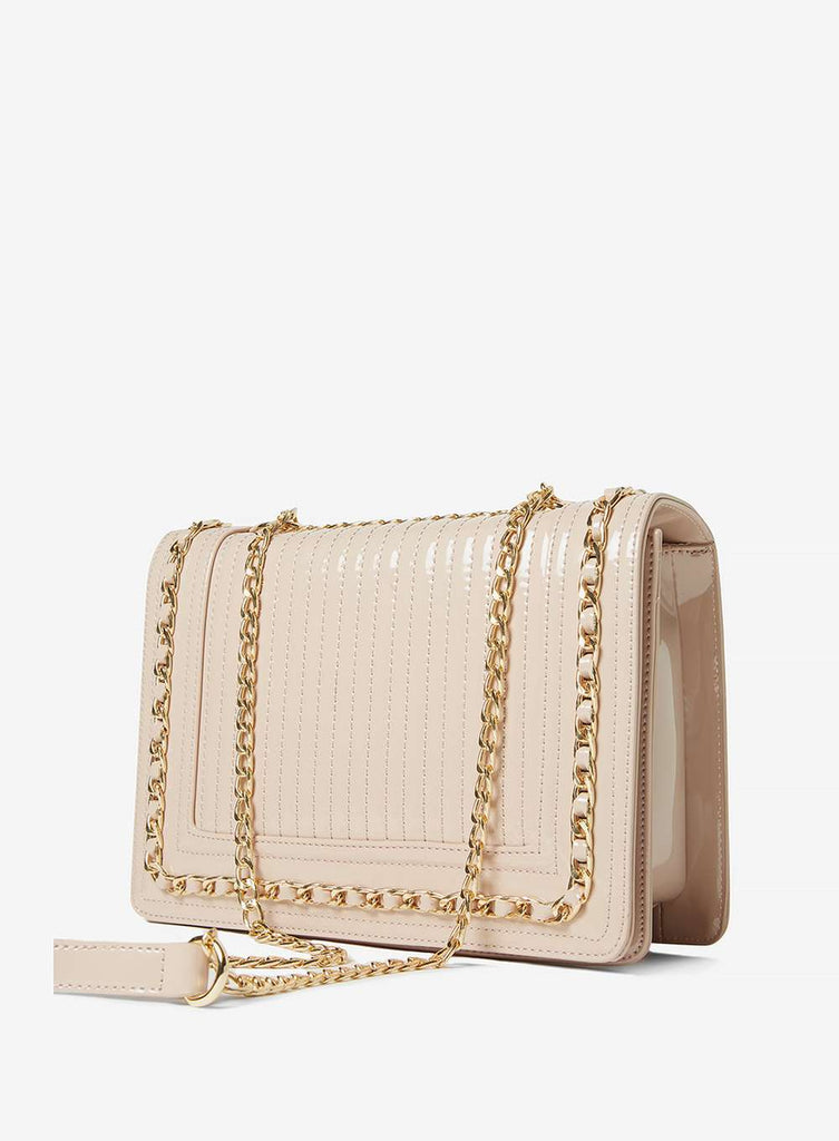 Womens Nude Patent Chain Shoulder Bag- White