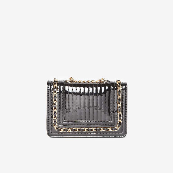 Womens Black Patent Mini Chain Bag- Black
