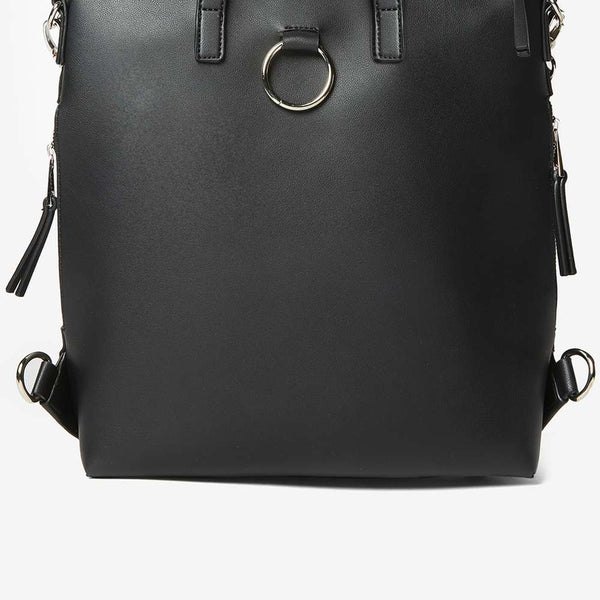 Womens Black Zip Side Backpack- Black