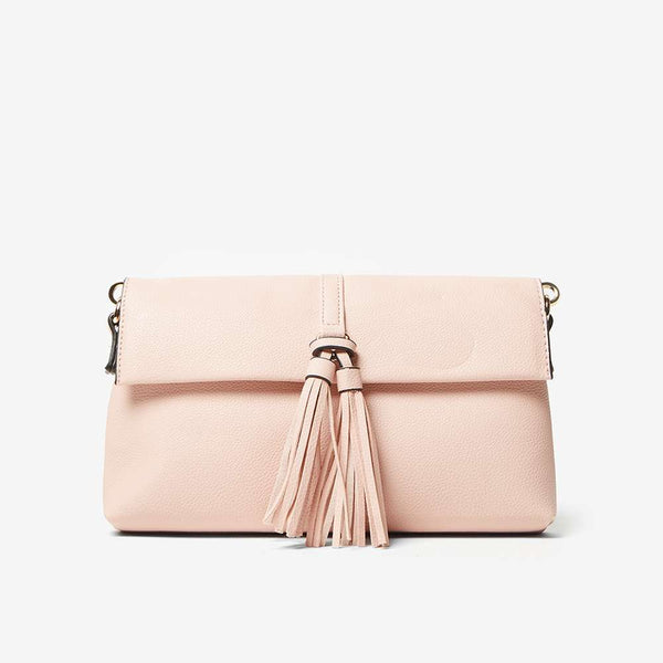 Womens Peach Tassel Clutch- Pink