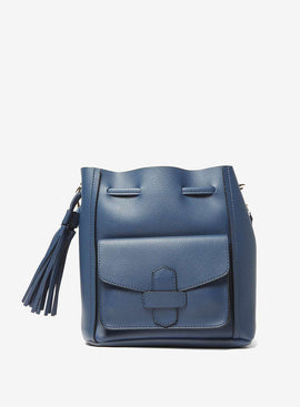 Womens Navy Duffle Tassel Cross Body Bag- Blue