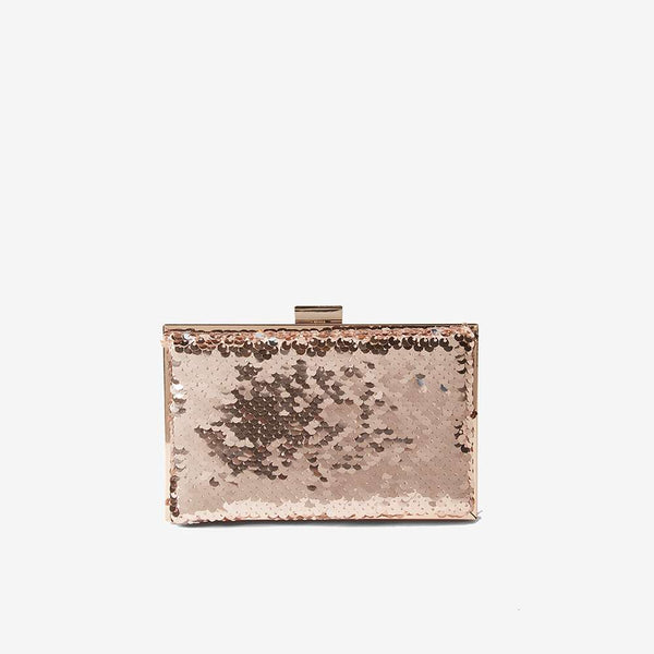 Womens Rose Gold Sequin Box Clutch- Rose Gold