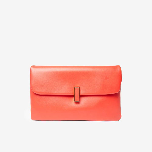 Womens Red Twistlock Clutch Bag- Red