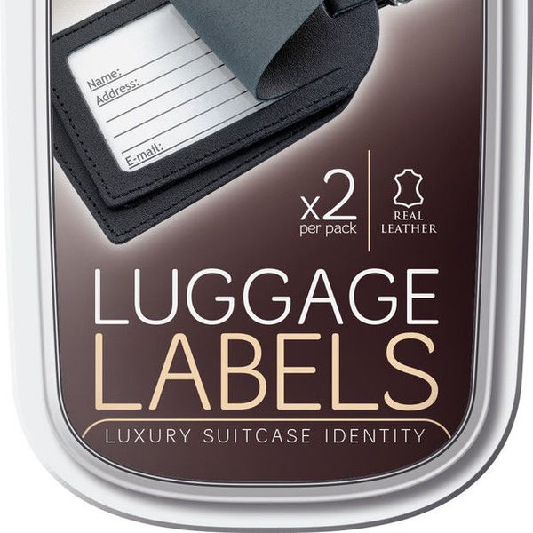 Go Travel Leather luggage labels- assorted colours
