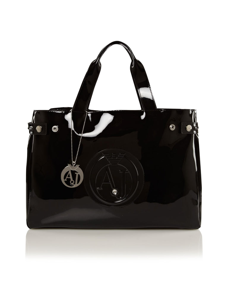 Armani Jeans Patent black tote bag- Black