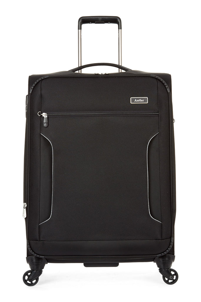 Antler Cyberlite II Black 4 Wheel Soft Medium Suitcase- Black