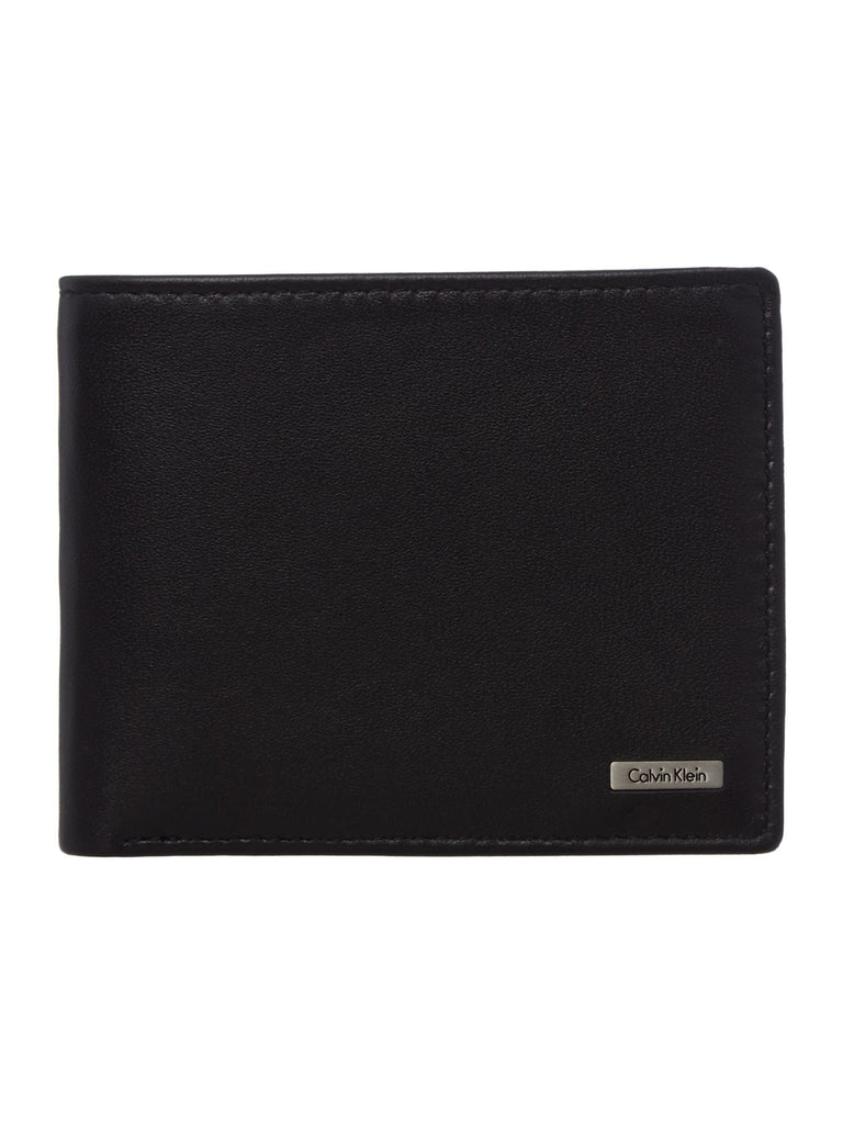 Calvin Klein Rail Billfold Leather Coin Pocket Wallet- Black