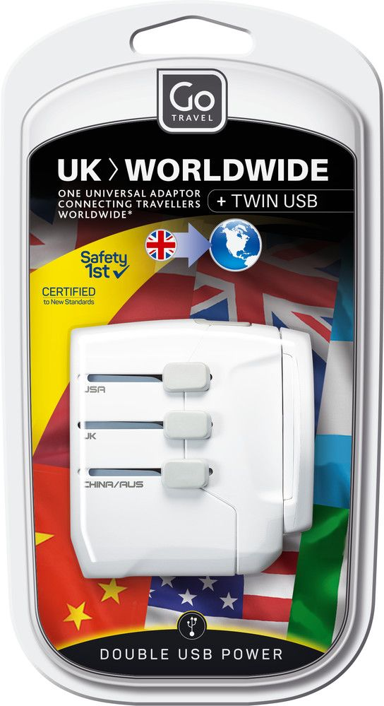 Go Travel UK-world usb adaptor (earthed)