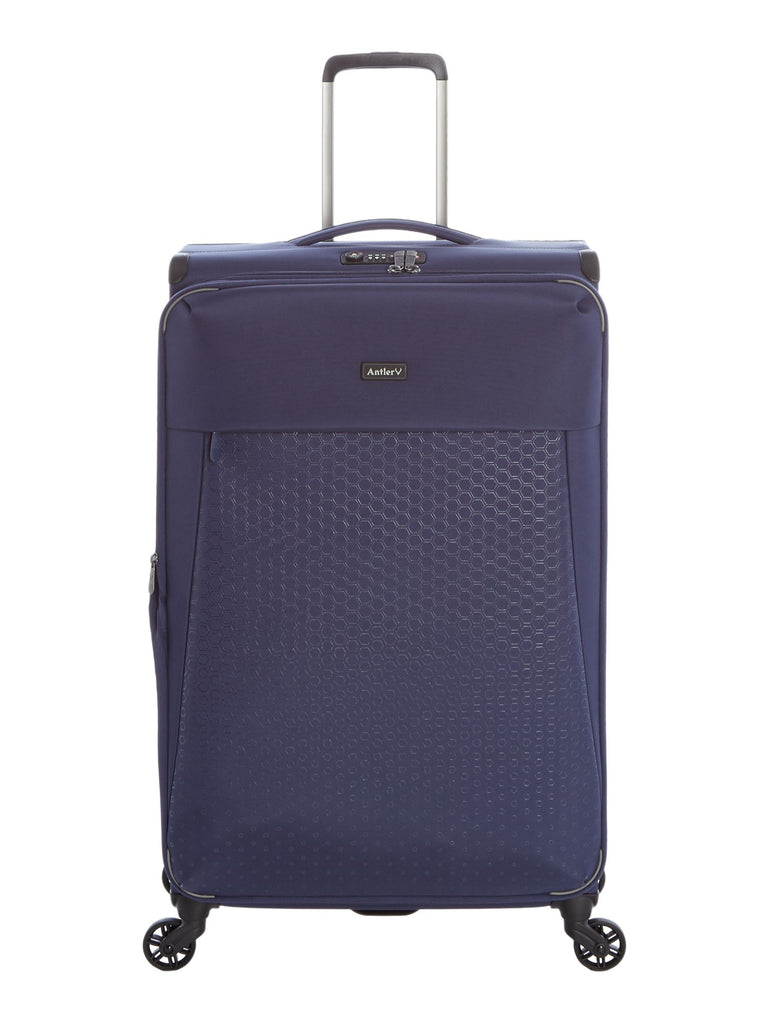 Antler Oxygen Navy 4 Wheel Soft Large Suitcase- Blue