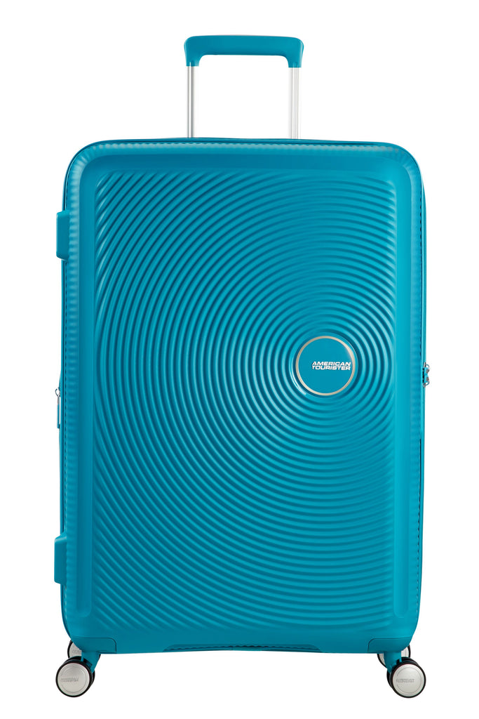 American Tourister Sound Box Blue Hard 4 Wheel Extra Large Case- Blue