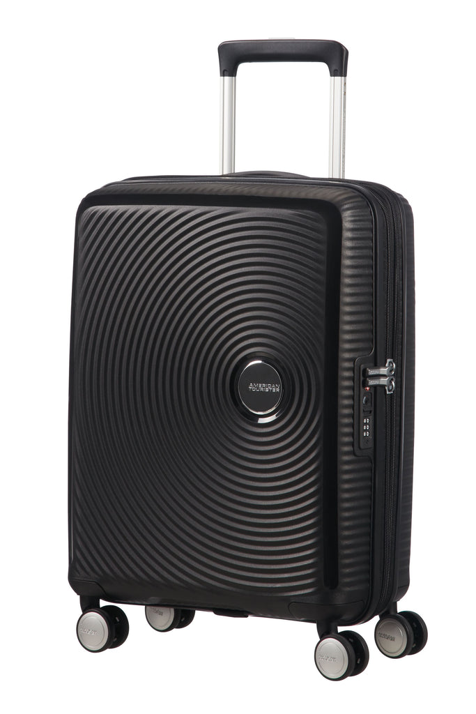 American Tourister Sound Box Black Hard 4 Wheel Medium Case- Black