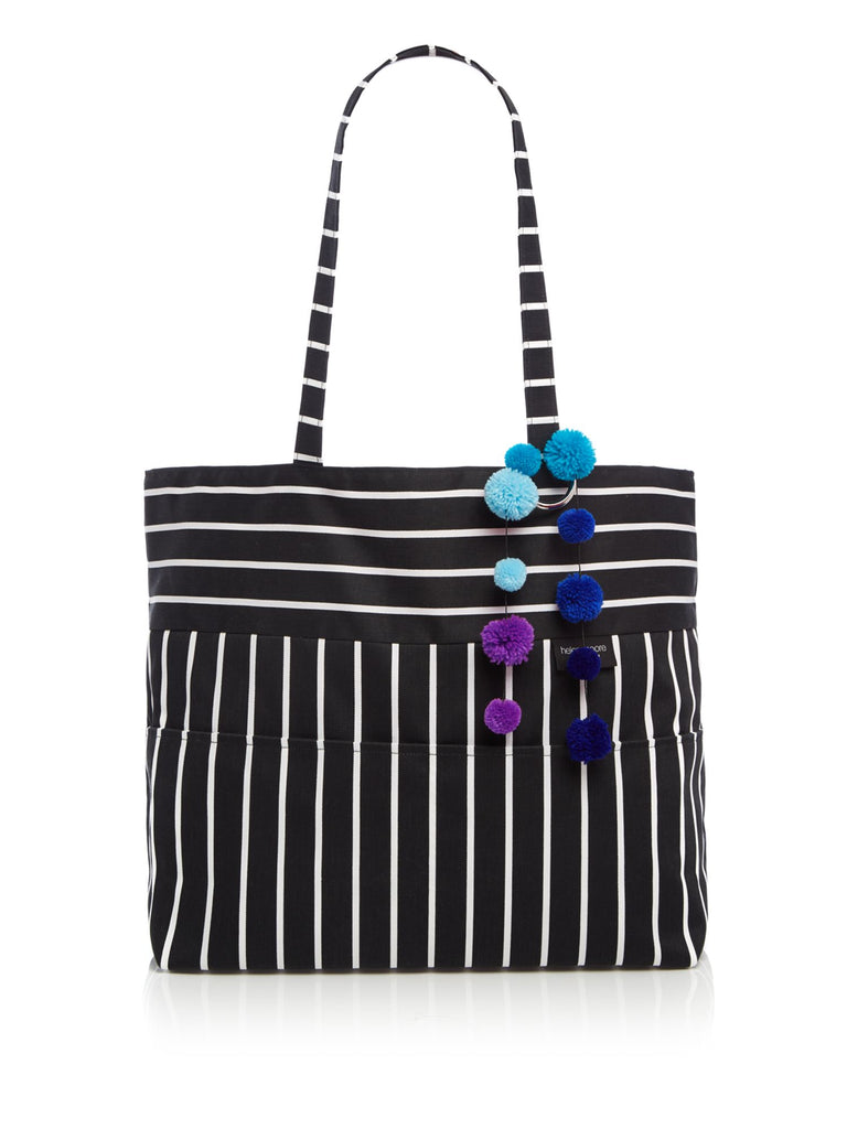 Helen Moore Butchers stripe large pom pom tote beach bag- Black Multi
