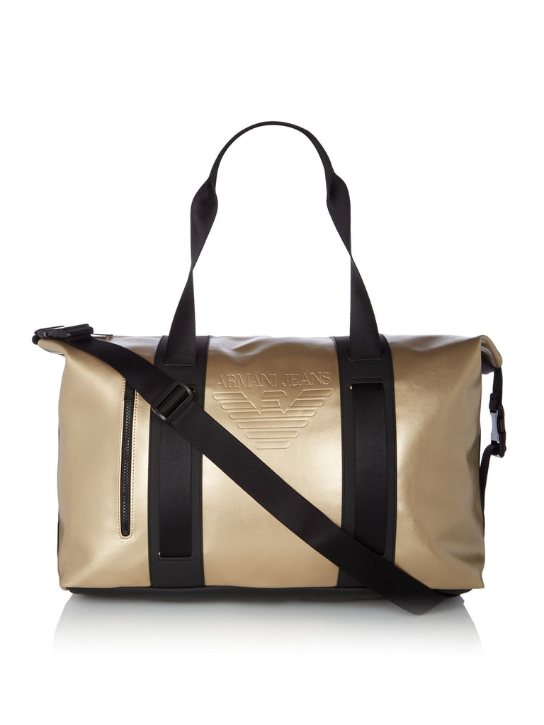Armani Jeans Large Logo Gold Holdall- Gold