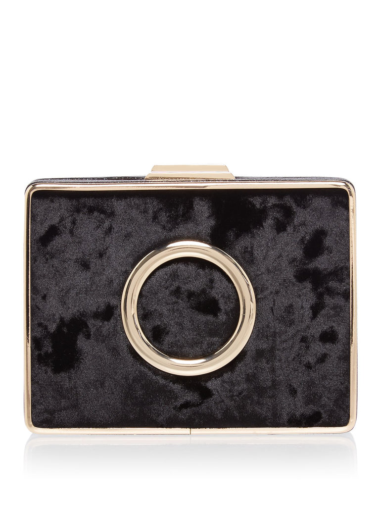 ISSA Clora circle trim box clutch- Black