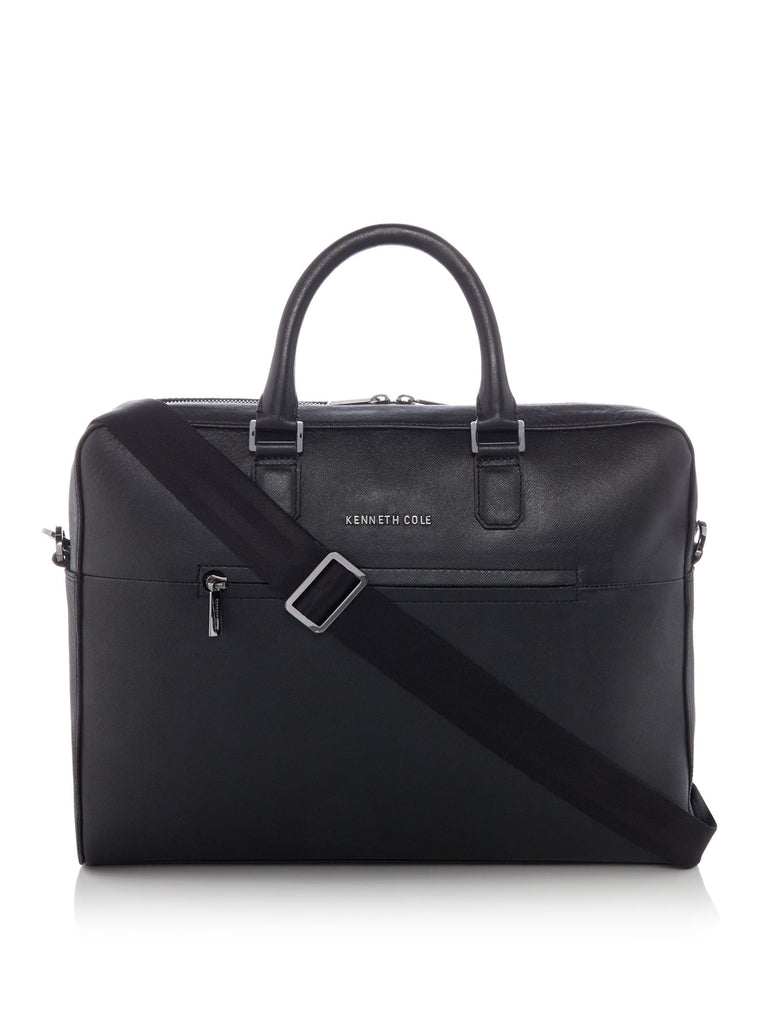 Kenneth Cole Saffiano Leather Laptop Bag- Black