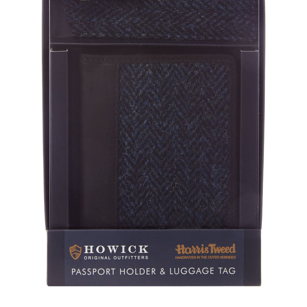 Howick Harris Tweed Passport Holder and Luggage Tag- Blue