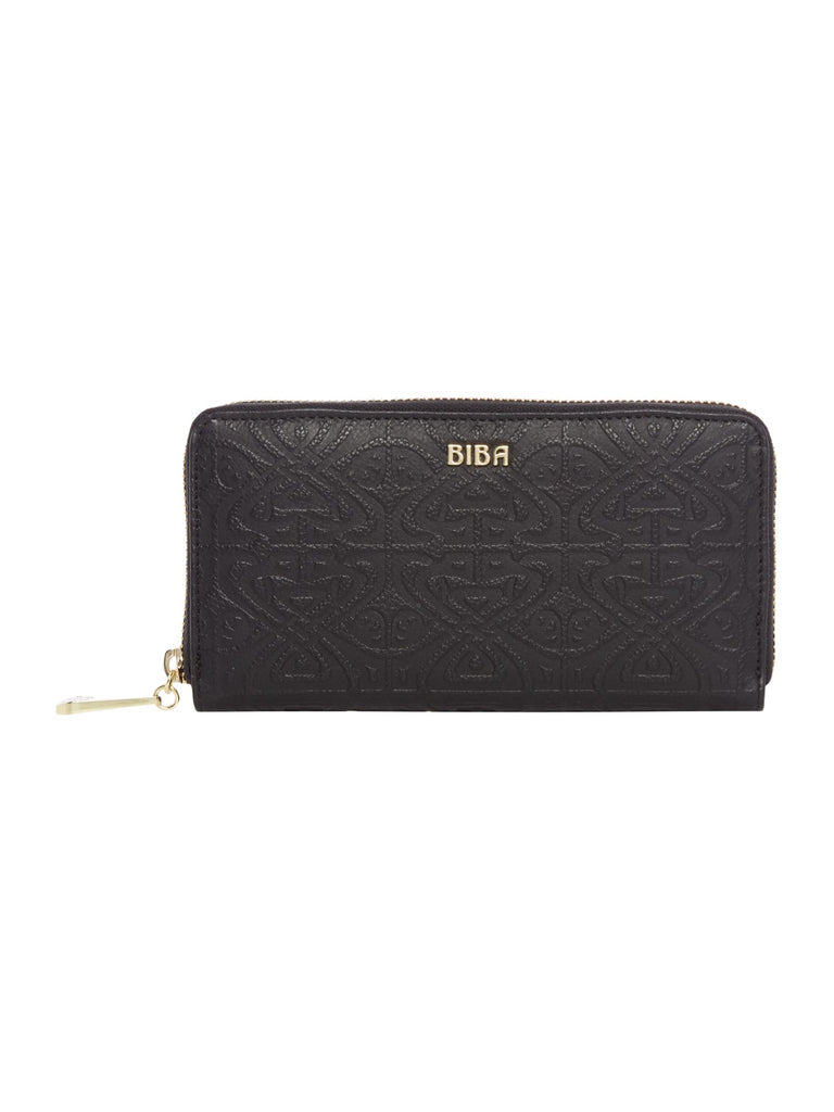 Biba Emboss Zip Around Purse- Black