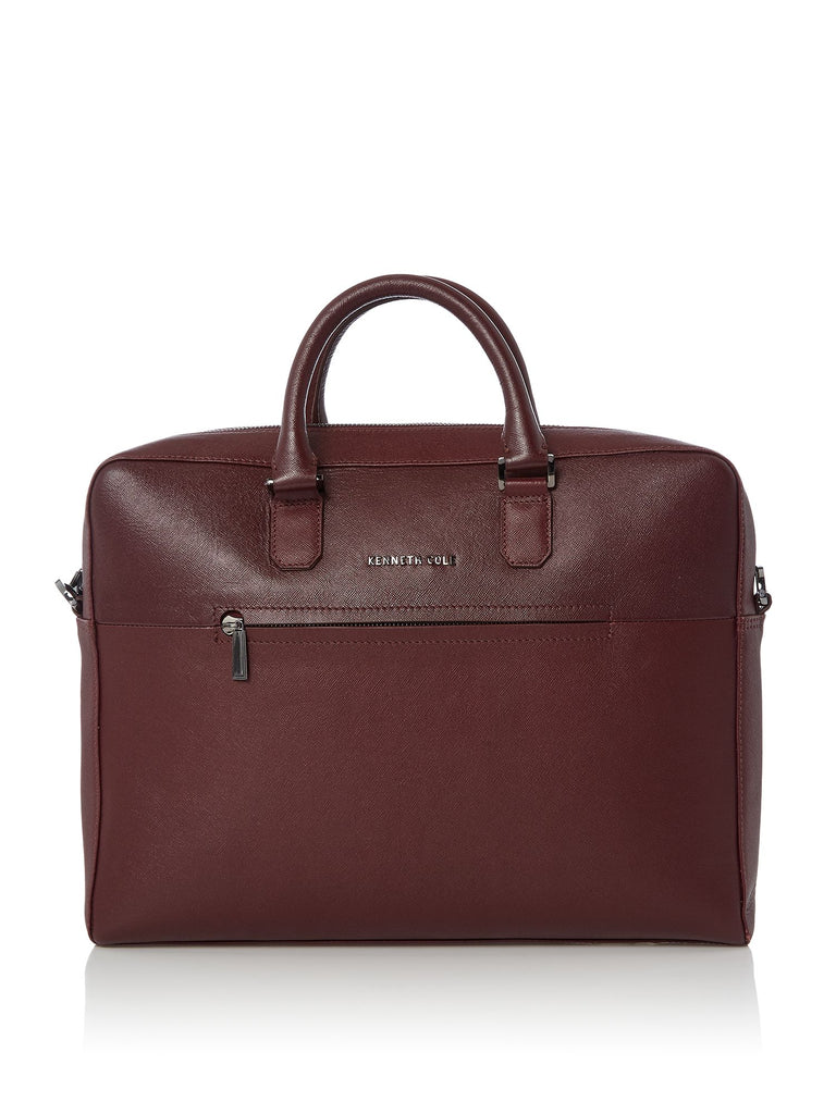 Kenneth Cole Saffiano Leather Laptop Bag- Oxblood