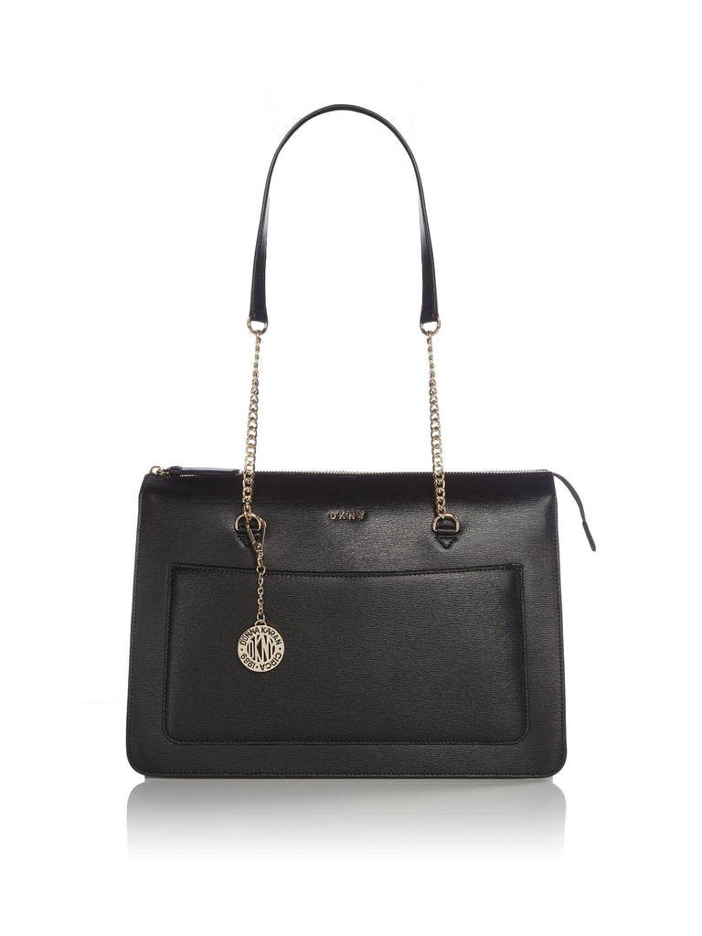 DKNY Sutton Chain Top Zip Tote- Black