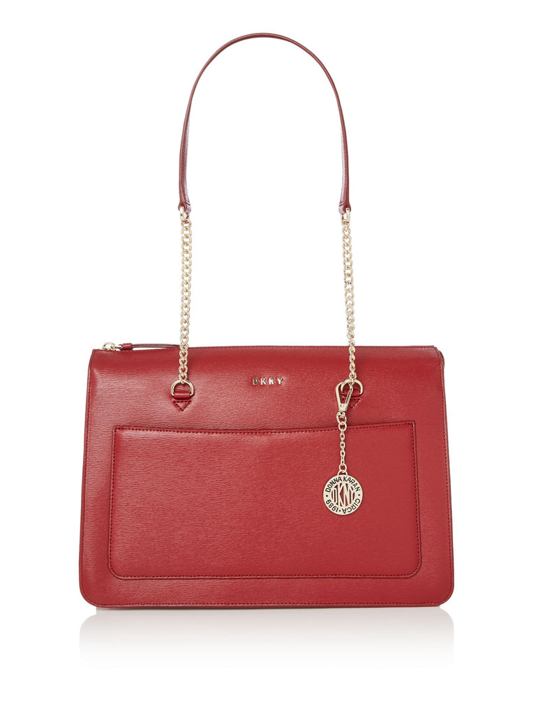 DKNY Sutton Chain Top Zip Tote- Red