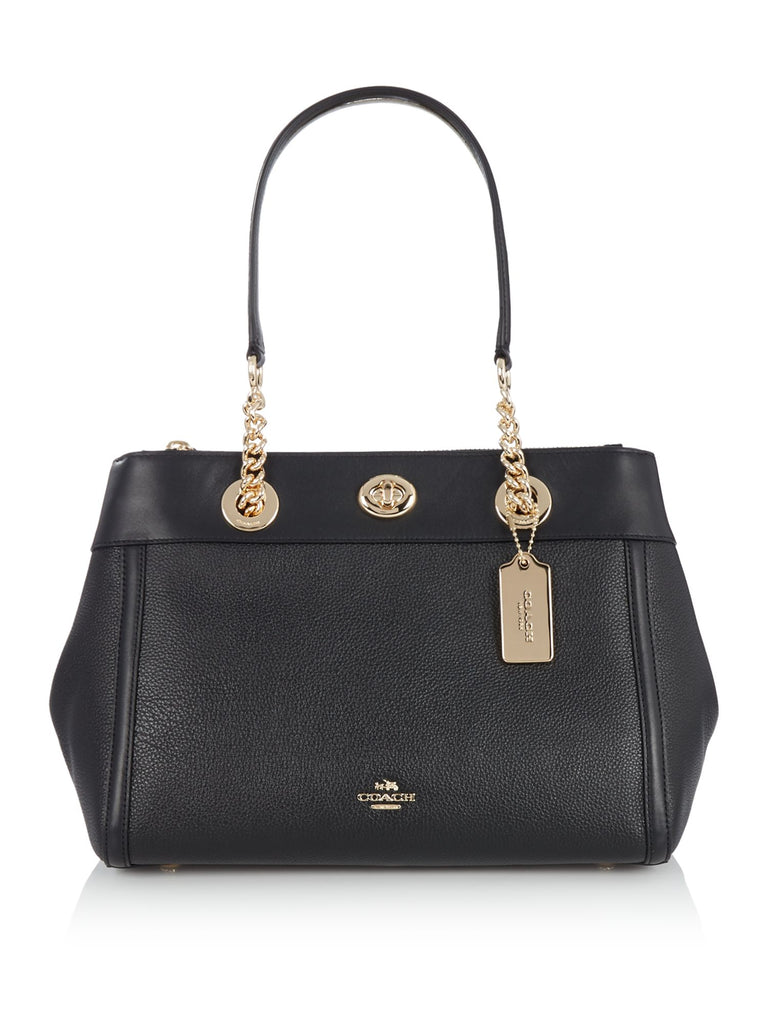 Coach Turnlock Edie Carryall Tote Bag- Black