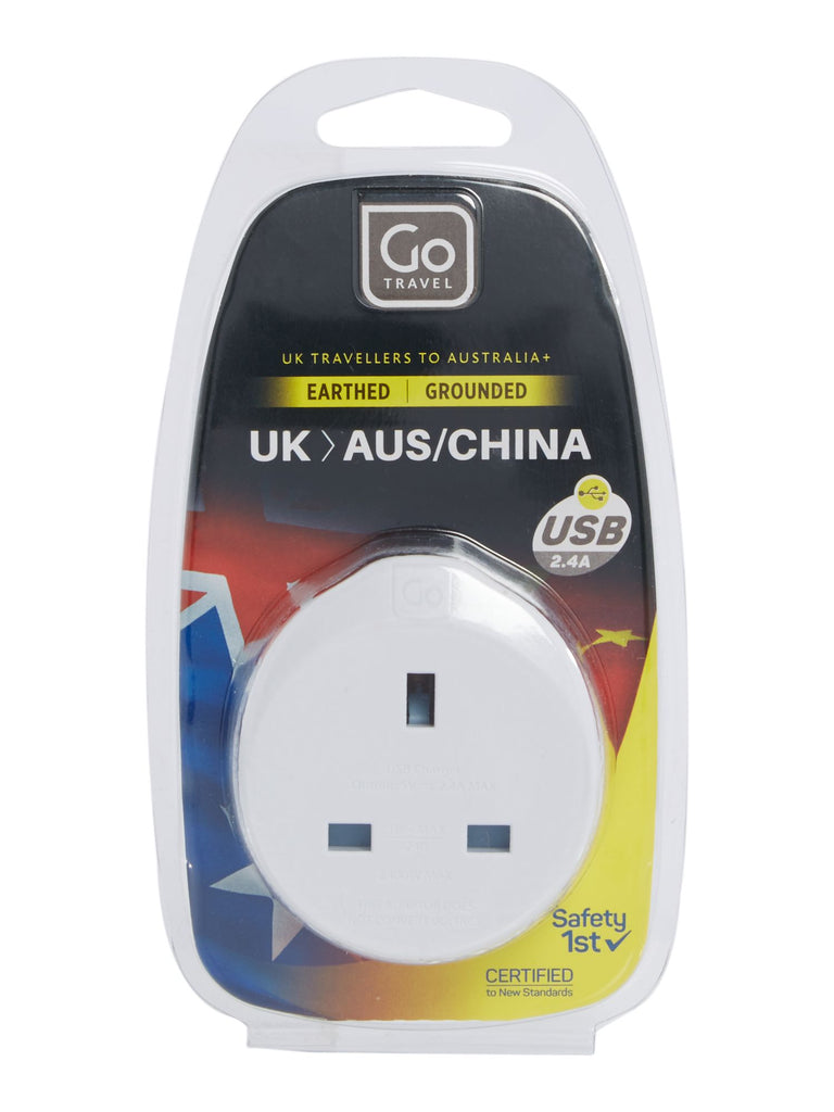 Go Travel UK-AUS adaptor + USB