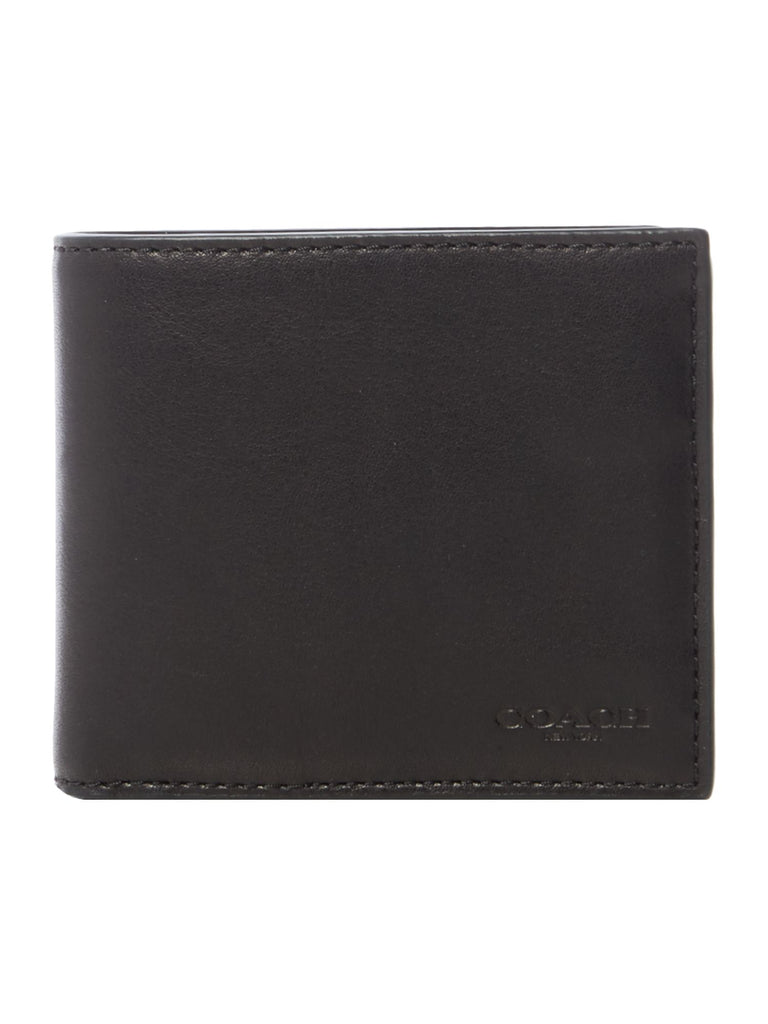 Coach Sport Calf Compact ID Leather Wallet- Black