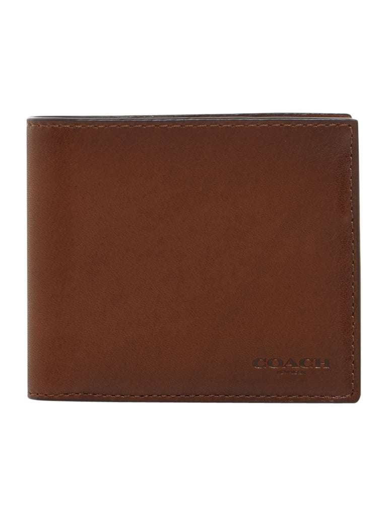 Coach Sport Calf Compact ID Leather Wallet- Brown