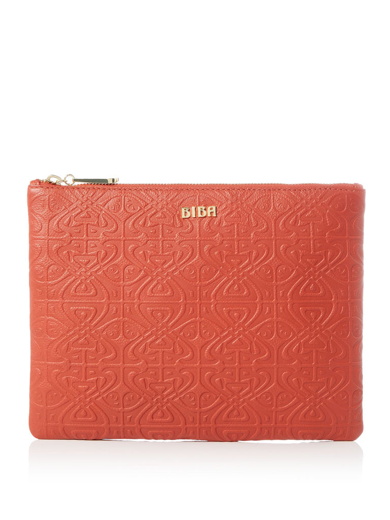 Biba Embossed pouchette- Orange