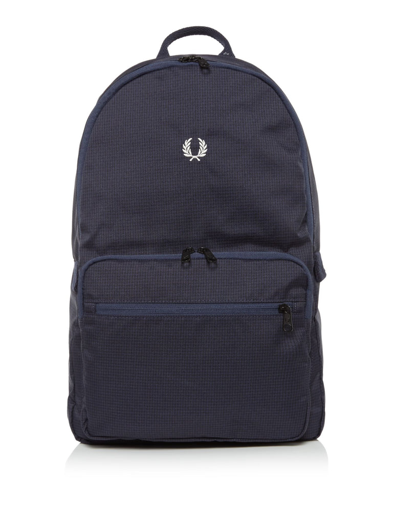 Fred Perry Checked Twill Backpack- Blue