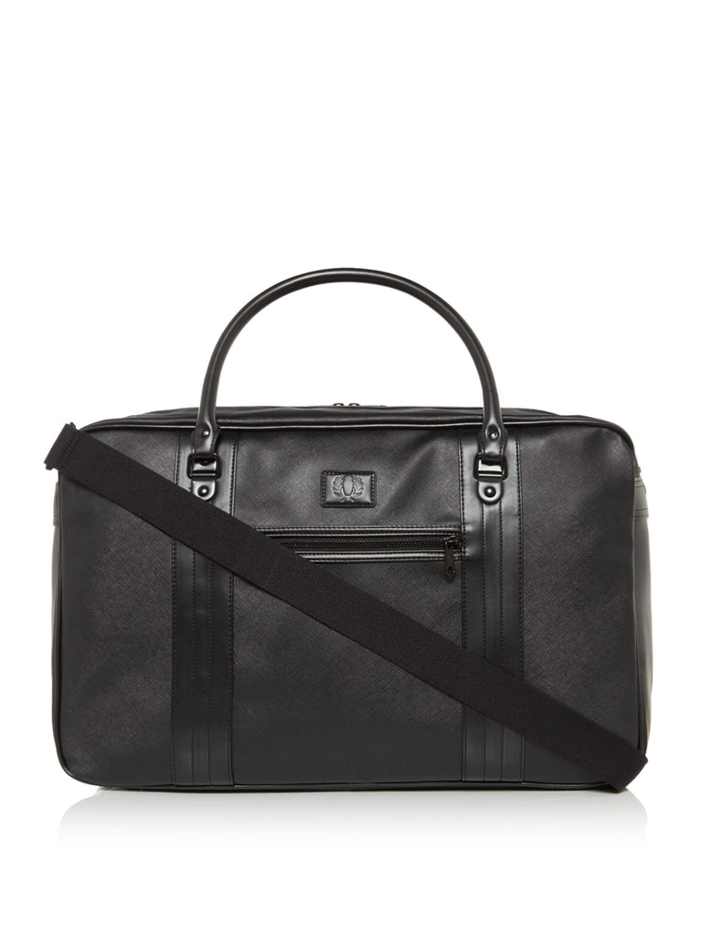 Fred Perry Saffiano Overnight Bag- Black