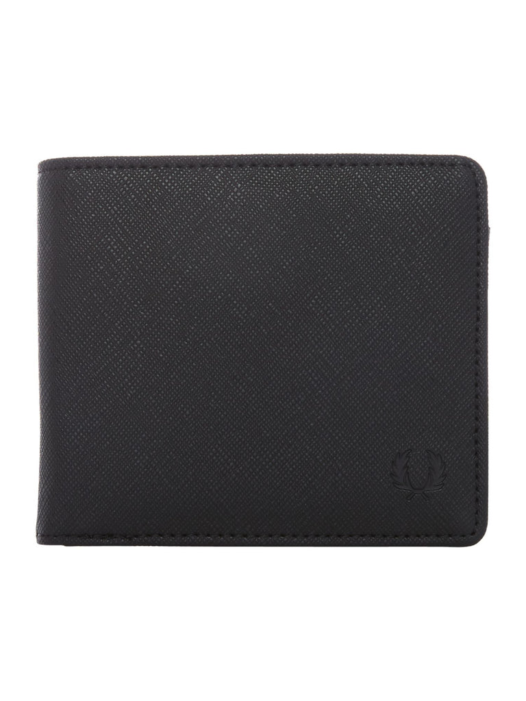 Fred Perry Saffiano Billfold Wallet- Black